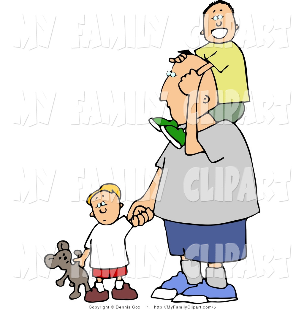 1024x1044 Clip Art Of A Father Taking His Boys Out For A Walk By Djart