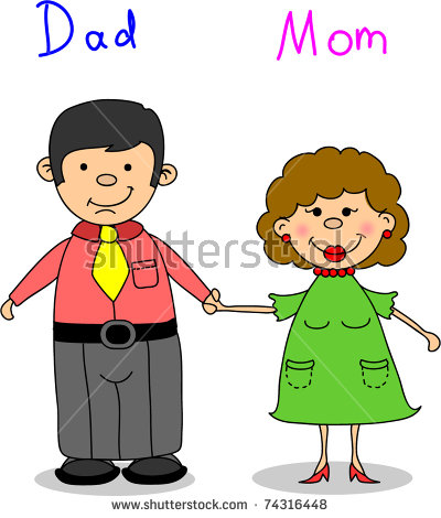 400x470 Mummy And Daddy Clip Art Clipart