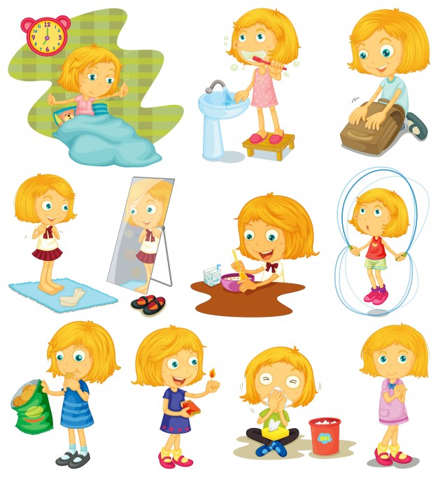 626x682 Daily Routine Of A Girl Illustration Vector Free Download
