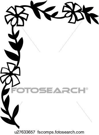 344x470 Clip Art of , border, corner, daisy, floral, u27633657