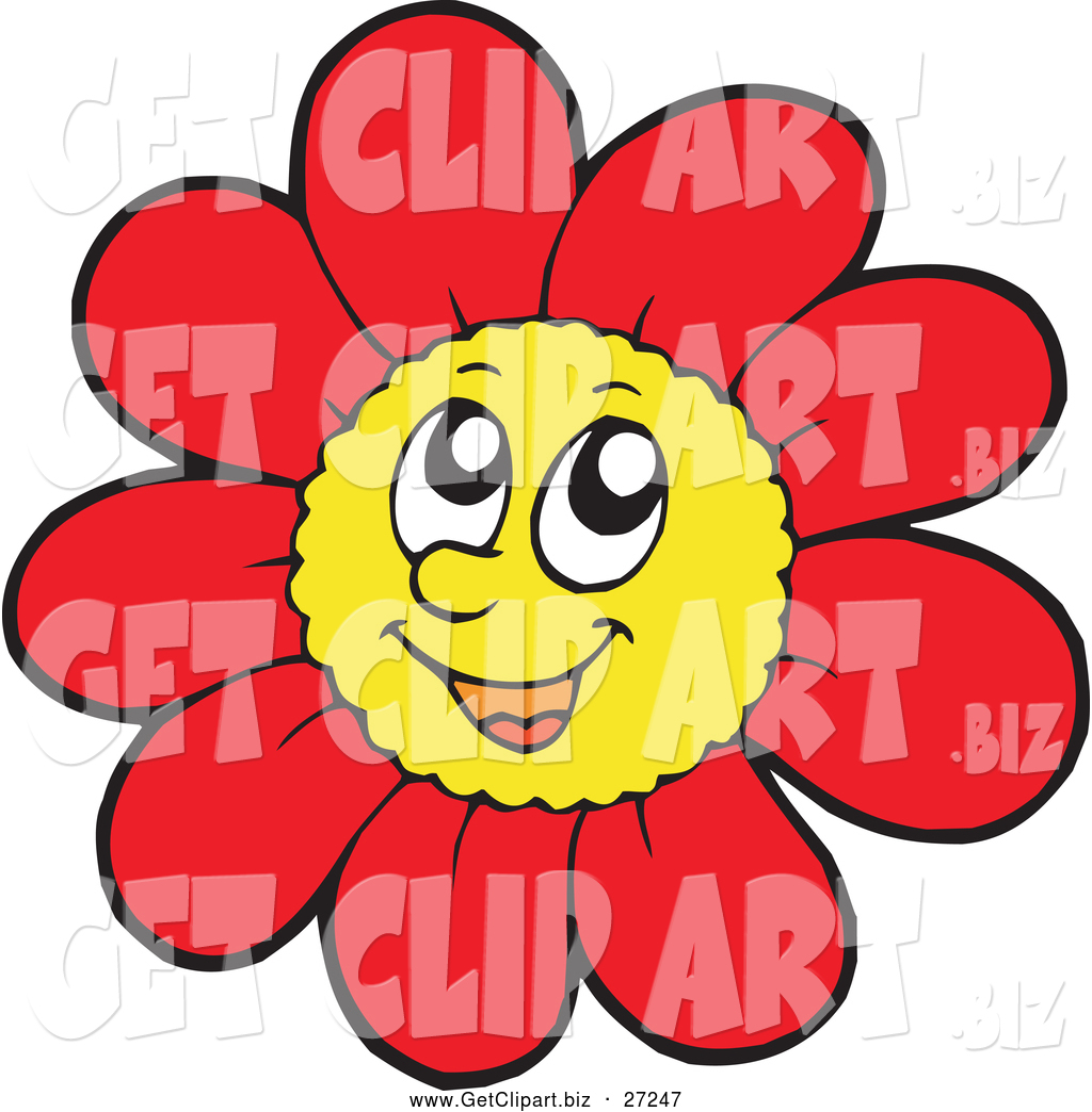 1024x1044 Clip Art of a Happy Red Daisy Flower Character by visekart
