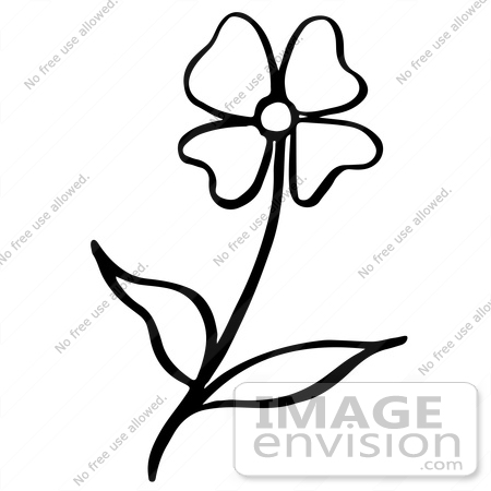 450x450 Clipart Of A Flower In Black And White