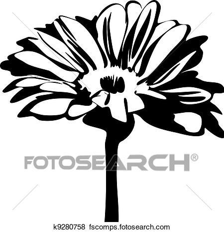 450x465 Clip Art Of Daisy Flower On The Stalk K9280758