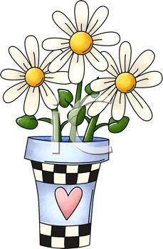 229x350 Daisy Flower Pot Clipart