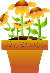 203x300 Daisy Flower Pot Clipart