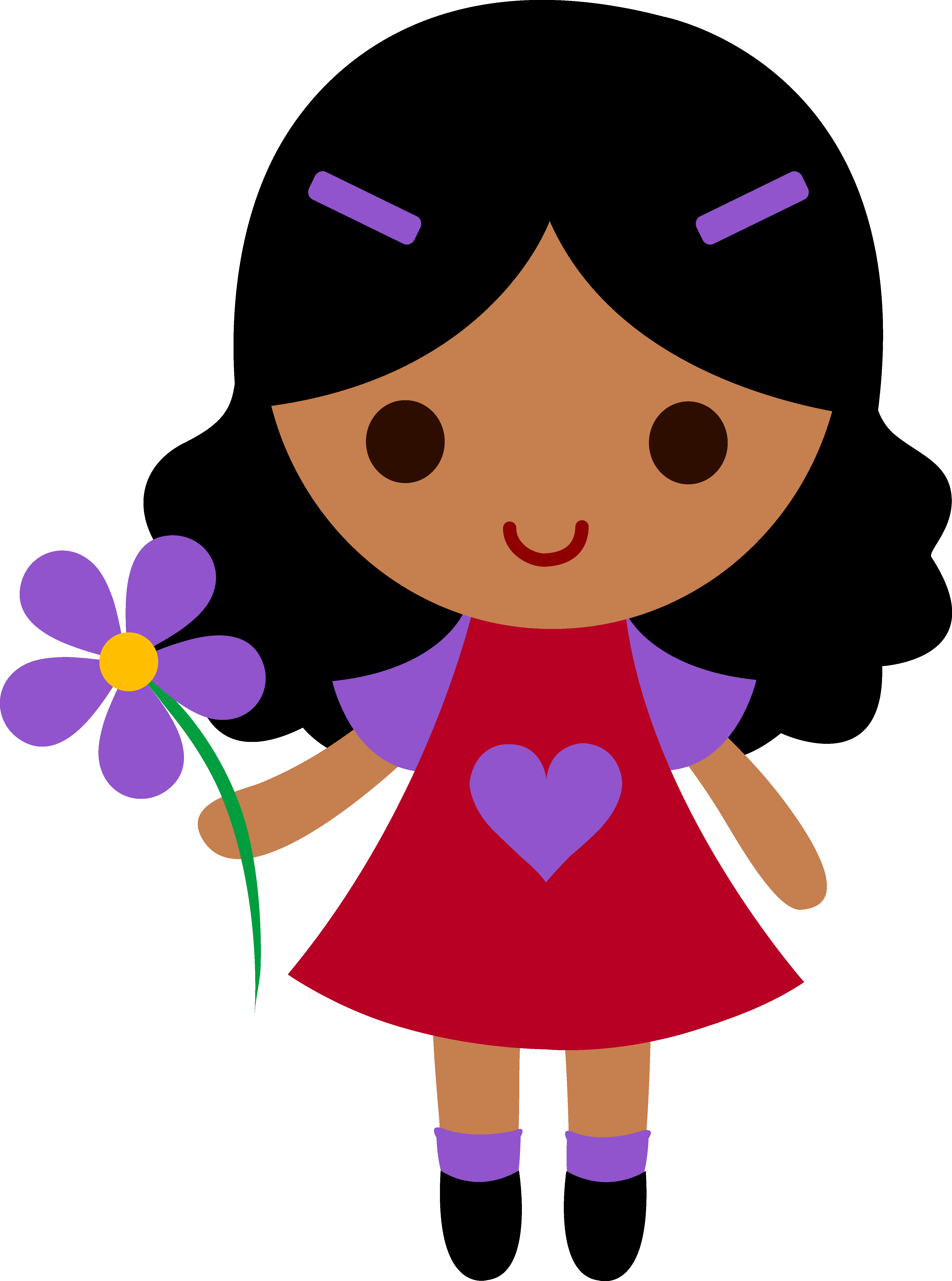 4451x5988 My Clip Art Of A Little Girl Holding A Purple Flower Sweet Clip