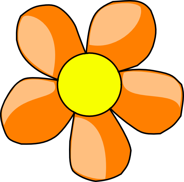 600x595 Orange Flower Clip Art