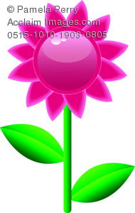 190x300 Clip Art Image Of A Glossy Pink Daisy Flower With Leaves