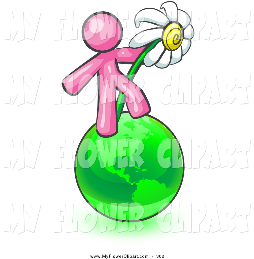 1024x1044 Clip Art Of A Pink Man Standing On The Green Planet Earth