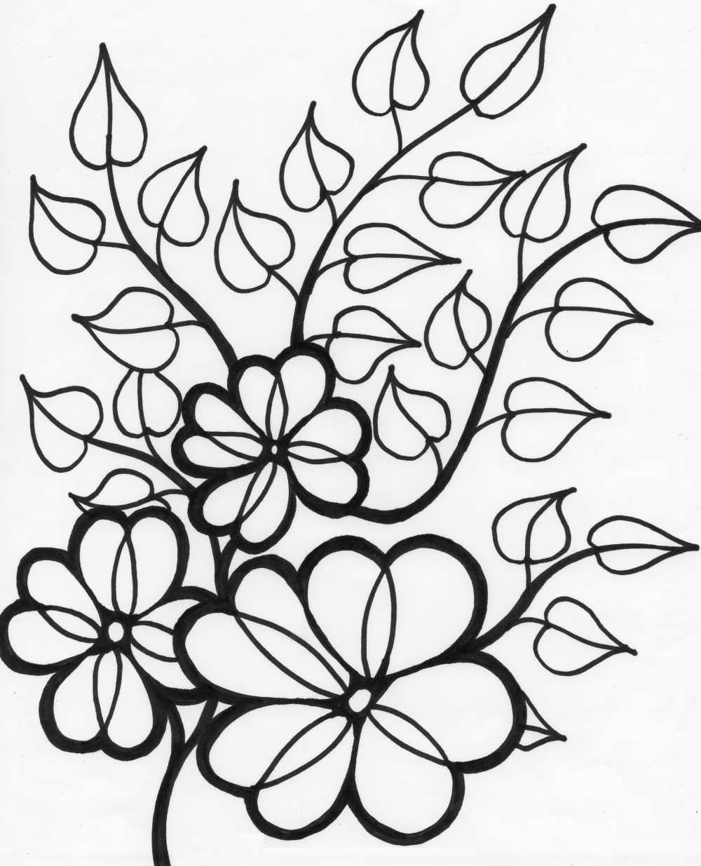 1000x1235 Nature Outline Pictures Of Flowers For Colouring Free Printable