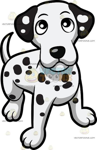 414x640 A Curious Yet Friendly Dalmatian Puppy Cartoon Clipart