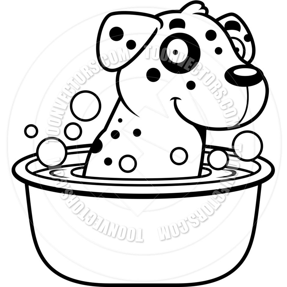 940x940 Cartoon Dalmatian Dog Bath (Black And White Line Art) By Cory