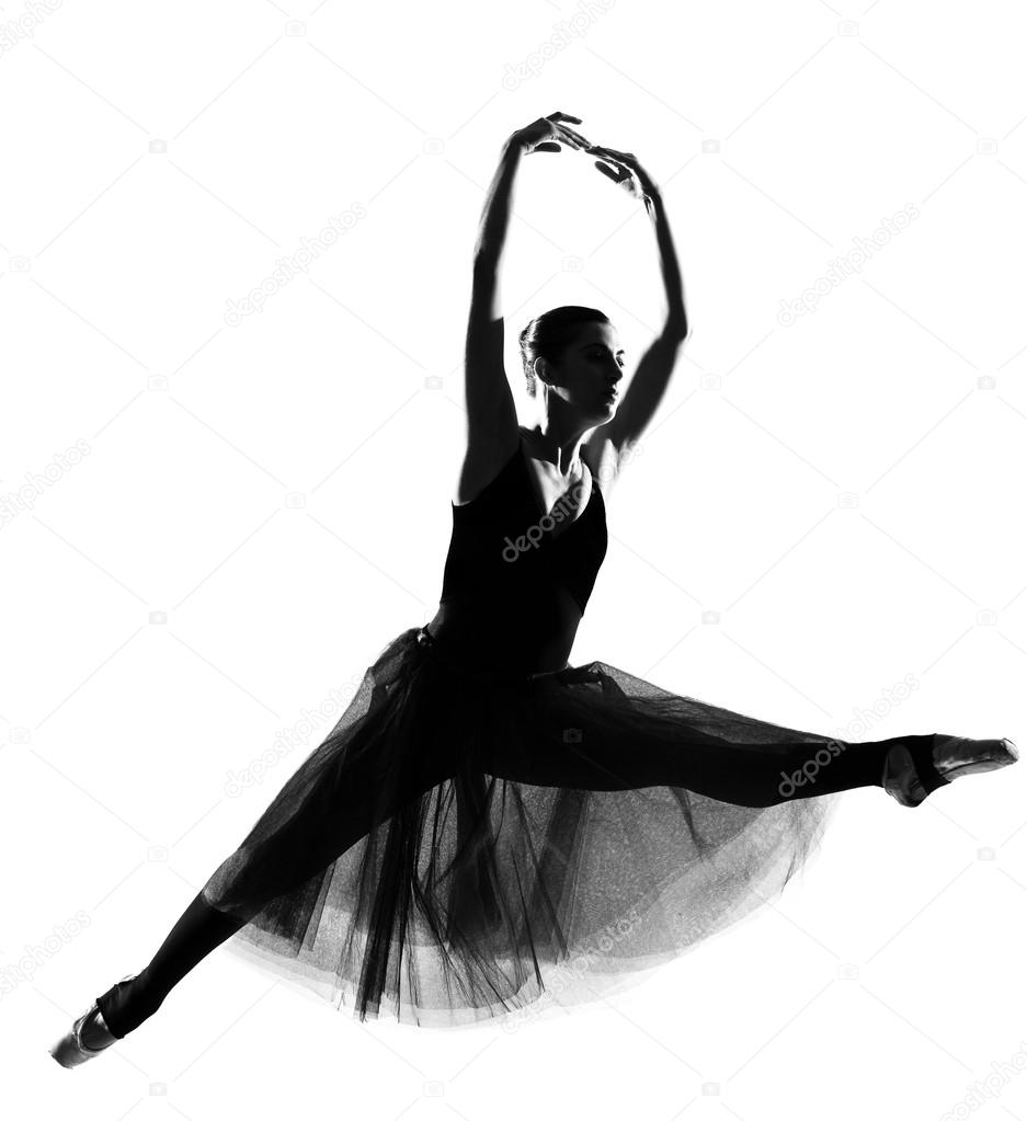 937x1023 Woman Ballet Dancer Leap Dancing Ballerina Silhouette Stock
