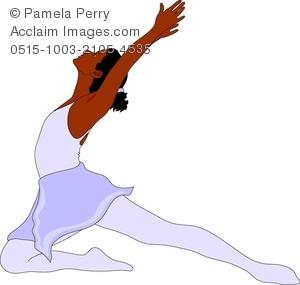 300x285 Clip Art Image Of A Hispanic Ballet Dancer Lunging