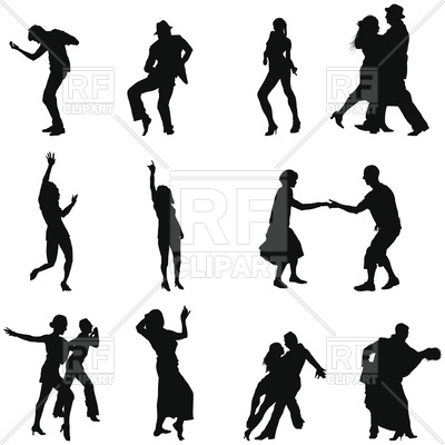 400x400 Set Of Dance Silhouettes Royalty Free Vector Clip Art Image