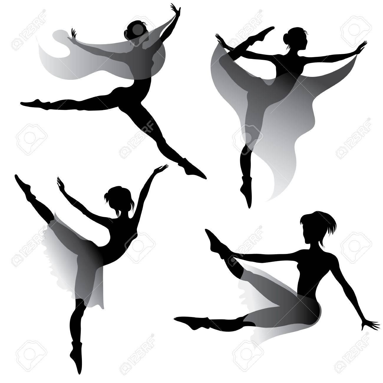 1300x1300 Set Of Ballet Dancers Silhouettes Dancing Modern Ballet Royalty