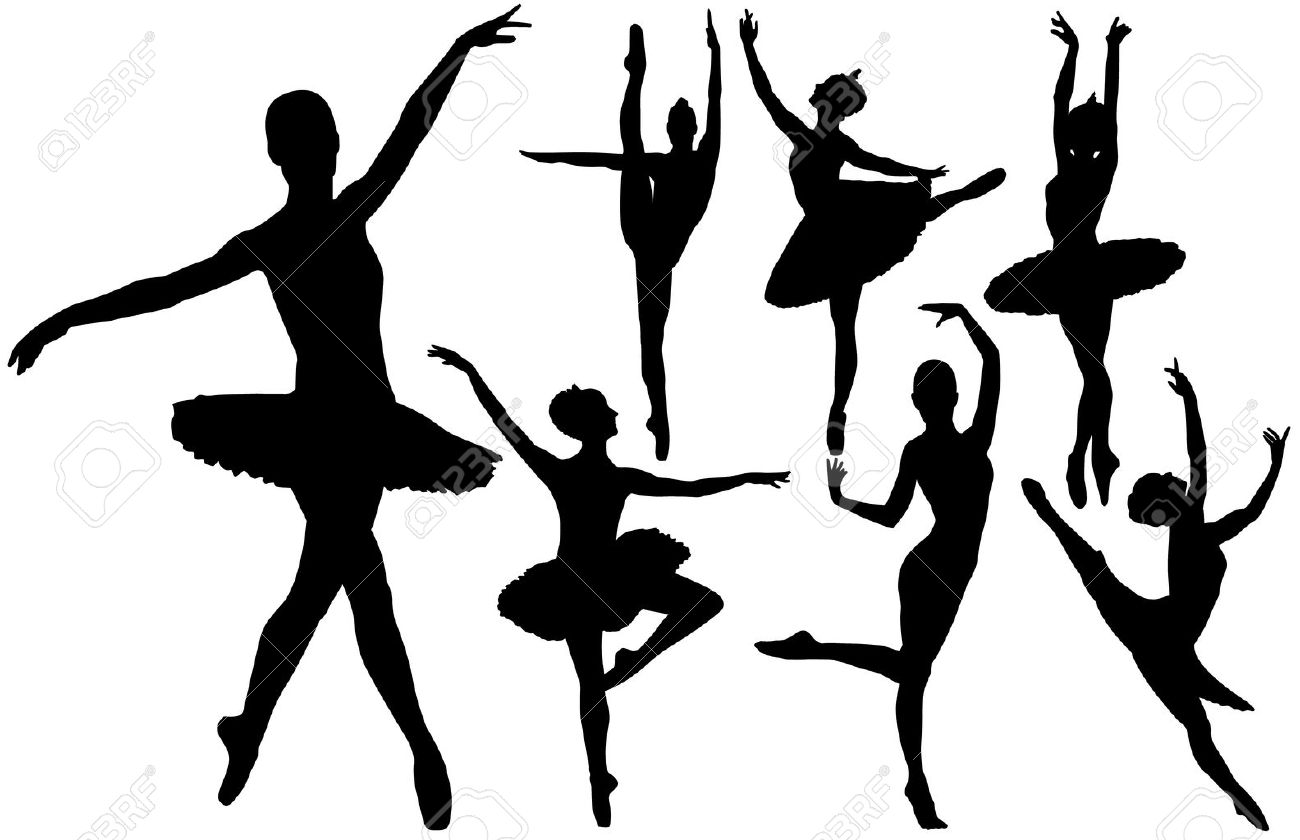 1300x840 Ballet Female Dancers Silhouettes On White Background Royalty Free