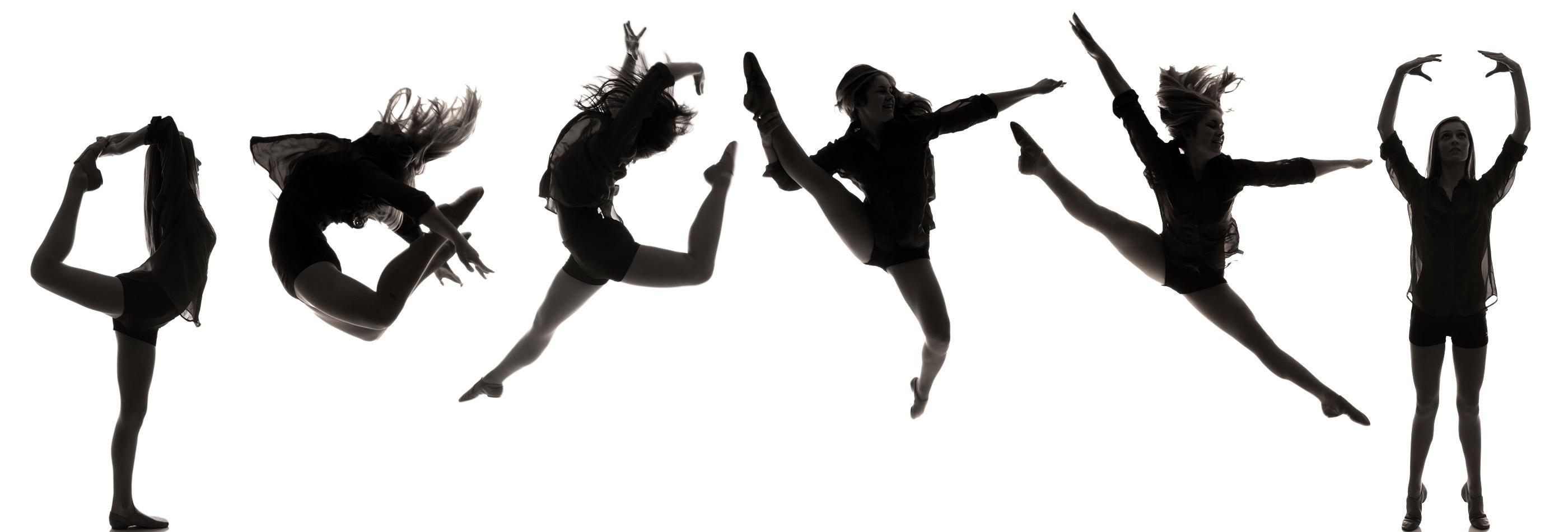 2800x950 Dance Team Silhouette Clipart 2