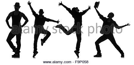 450x220 Silhouettes Of Dancers In Dancing Concept Stock Photo, Royalty