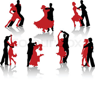 320x288 Silhouettes Of Dancing Couples Without Background Stock Vector