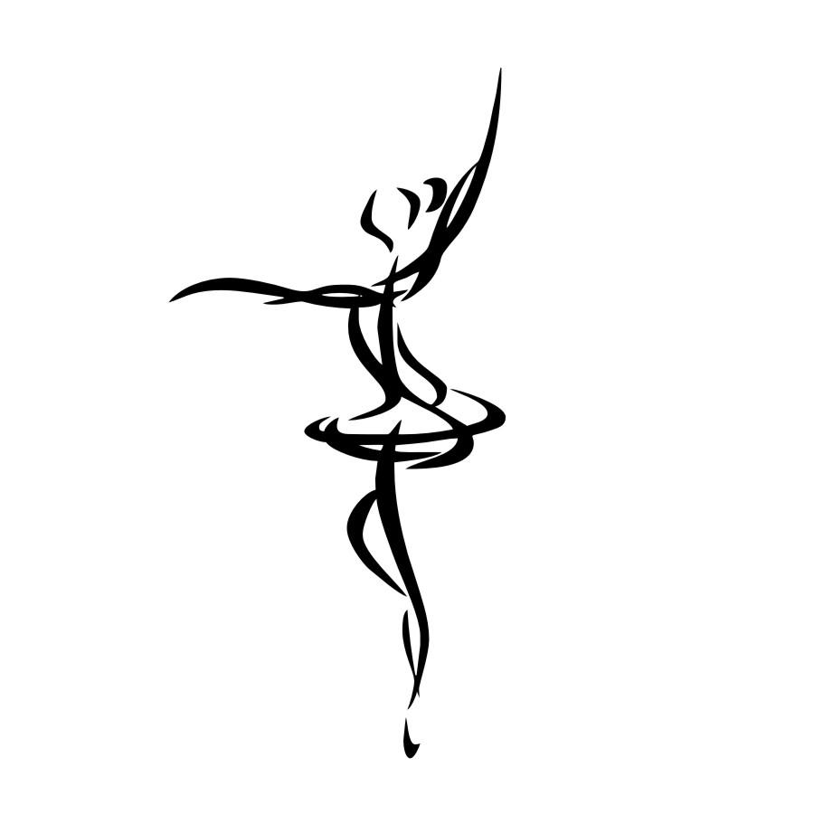 900x900 Cheapest Ballet Dancer Outline Wall Sticker Simple Design Art