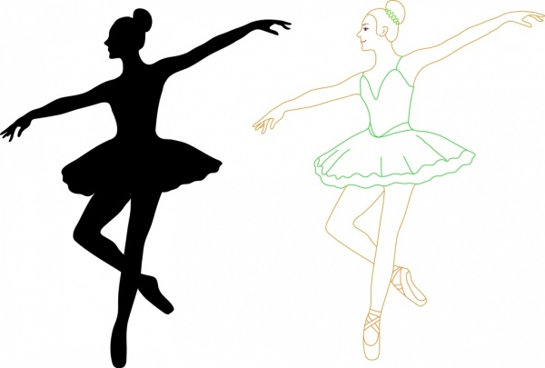 600x405 Female Ballet Dancers Outline Silhouette Colored Style Decoration