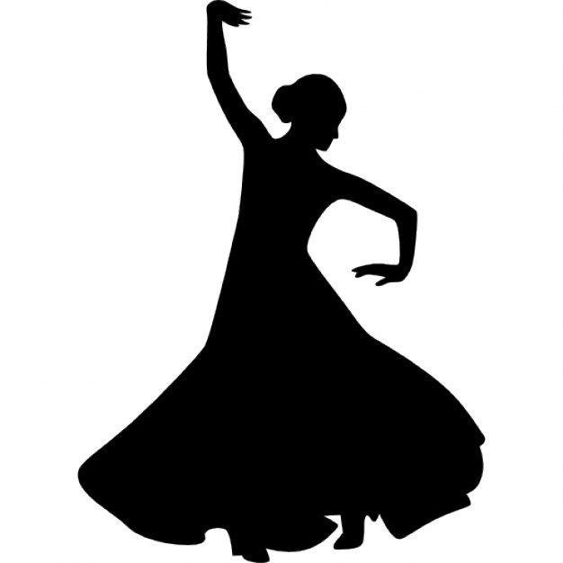 626x626 Flamenco Female Dancer Silhouette With Raised Right Arm Icons