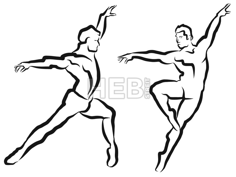 900x675 Two Dancer Outline Silhouette Sketch Hebstreits Sketches