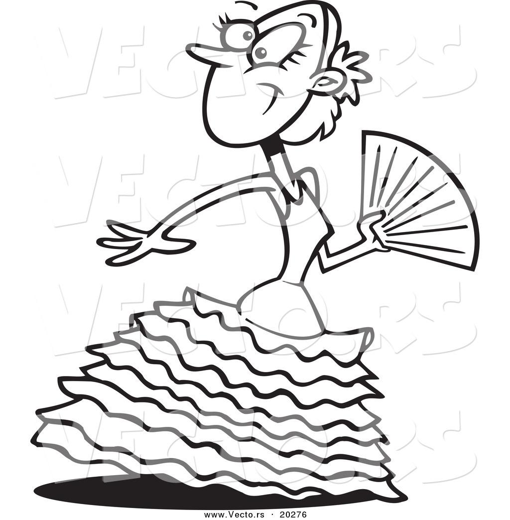 1024x1044 Vector Of A Beautiful Cartoon Flamenco Dancer