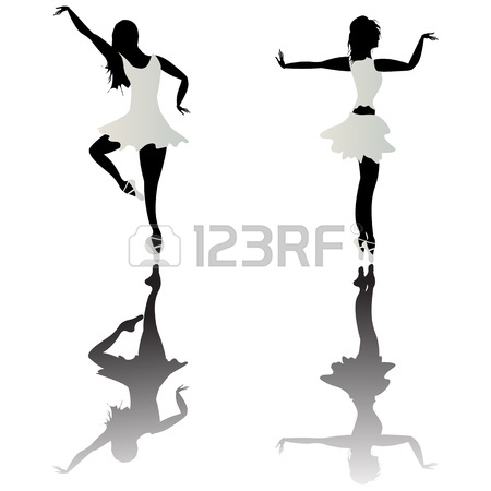 450x450 Ballet Dancer Silhouettes And Reflection Over White Background