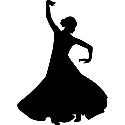 512x512 Flamenco Female Dancer Silhouette With Raised Right Arm