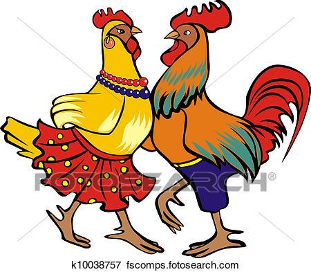 450x393 Clip Art Of Dancing Cock And Hen K10038757