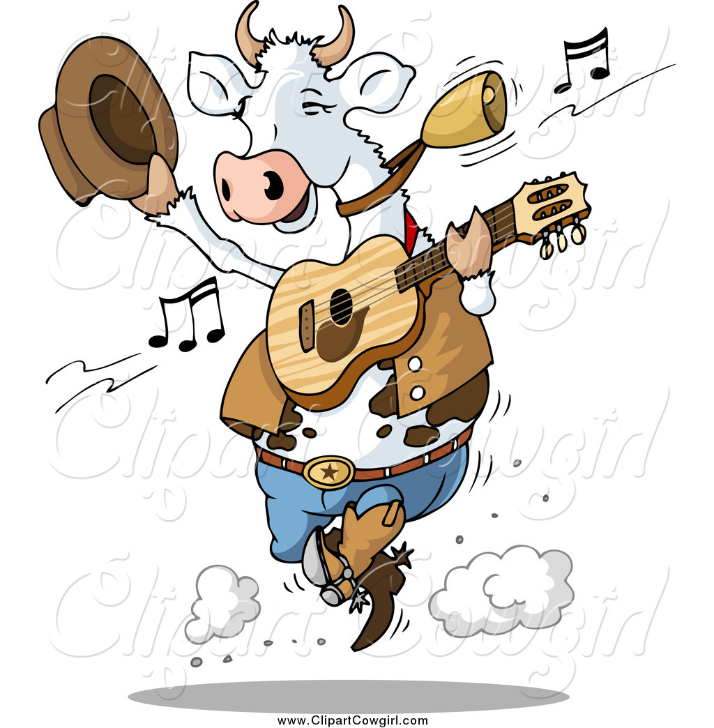 1024x1044 Clipart Of A Dancing Country Music Cow By Holger Bogen