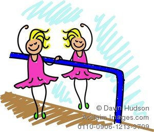 300x258 Clipart Illustration Of A Little Girl Having Ballet Lessons