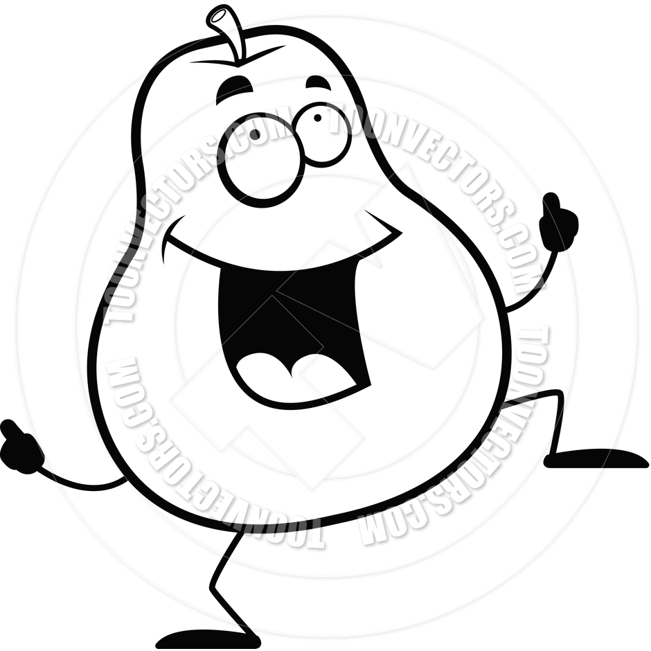 940x940 Pear Dancing (Black And White Line Art) By Cory Thoman Toon