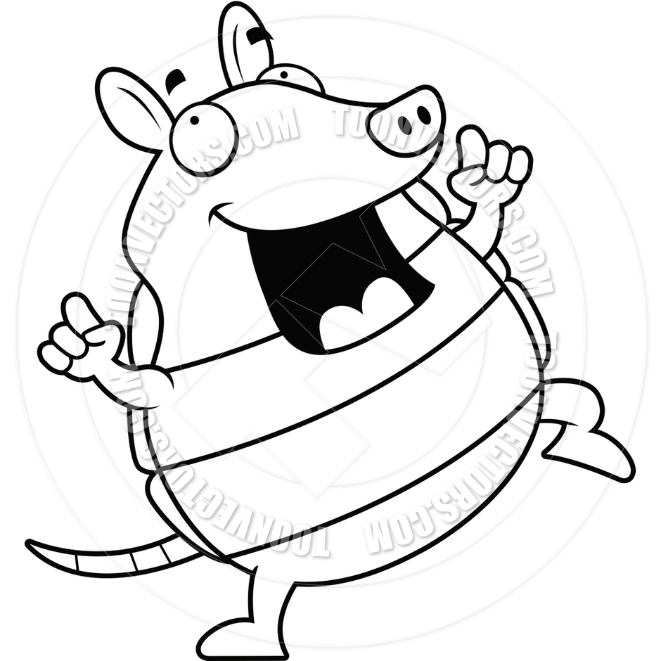 940x940 Cartoon Armadillo Dancing (Black And White Line Art) By Cory