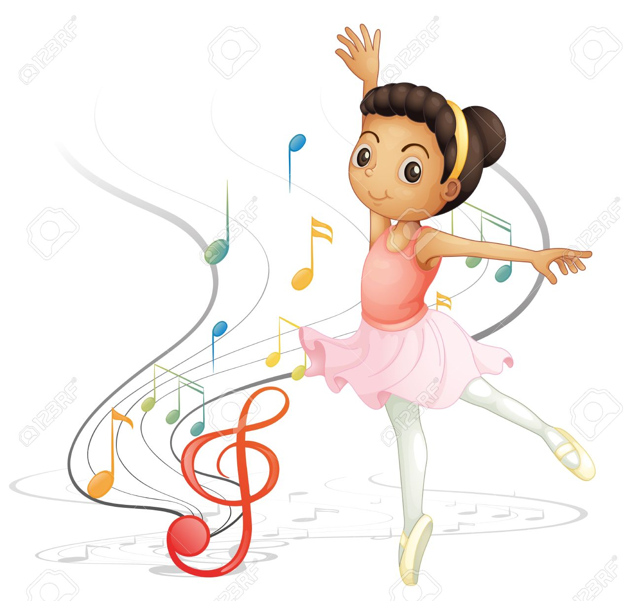 1300x1219 Illustration Of A Girl Dancing With Musical Notes On A White