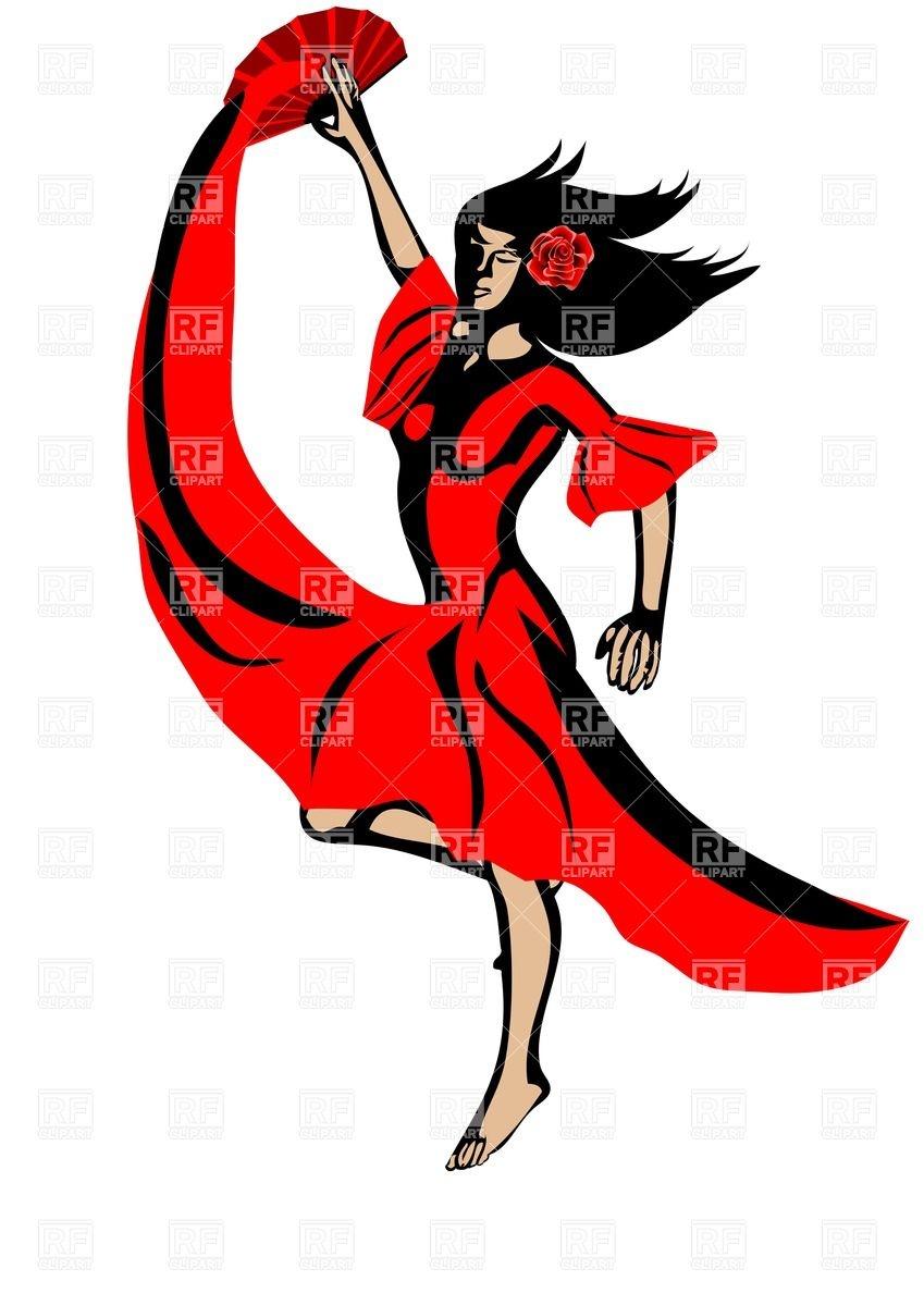 849x1200 Young Woman Dancing Flamenco Royalty Free Vector Clip Art Image