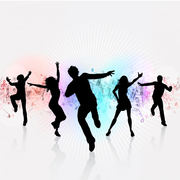 625x626 White Party Background With Dancing Silhouettes Vector Free Download