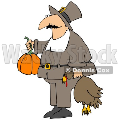 400x400 Illustration Of Male Pilgrim In Brown, Carrying Pumpkinnd