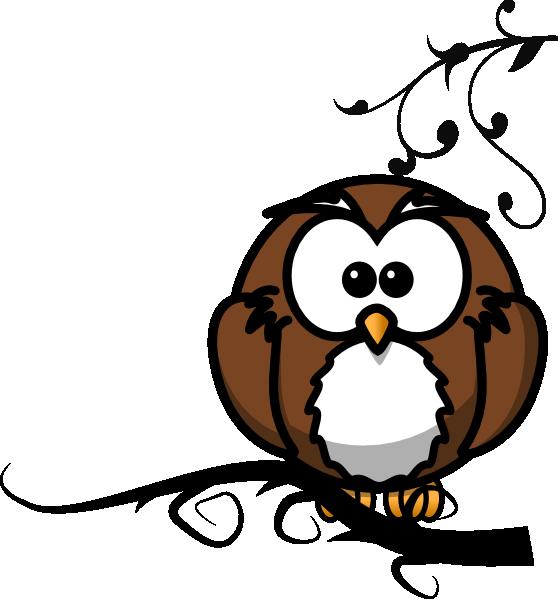 558x599 Owl On Branch 2 Clip Art