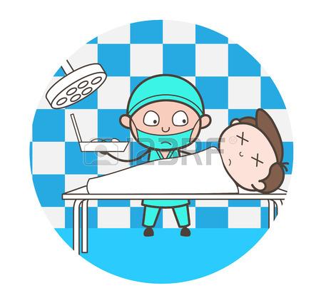 450x425 Cartoon Doctor Doing Postmortem Of Dead Body Vector Royalty Free