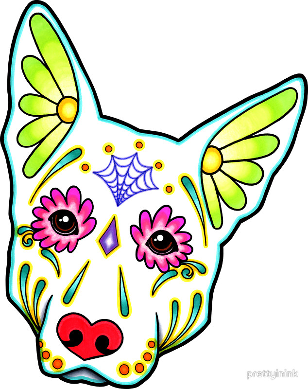 634x800 Day Of The Dead German Shepherd In White Sugar Skull Dog Stickers