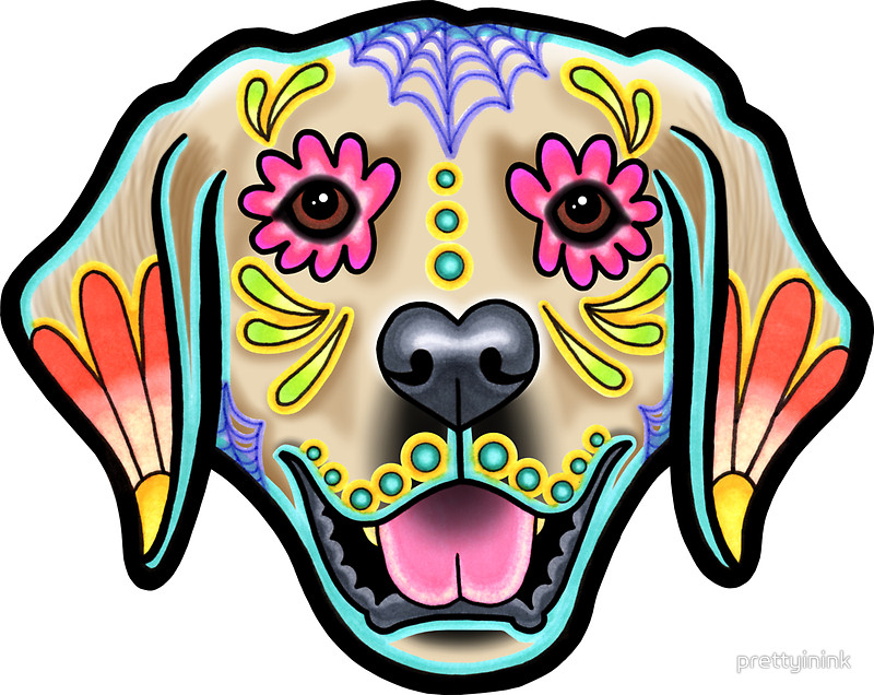800x636 Day Of The Dead Golden Retriever Sugar Skull Dog Stickers By