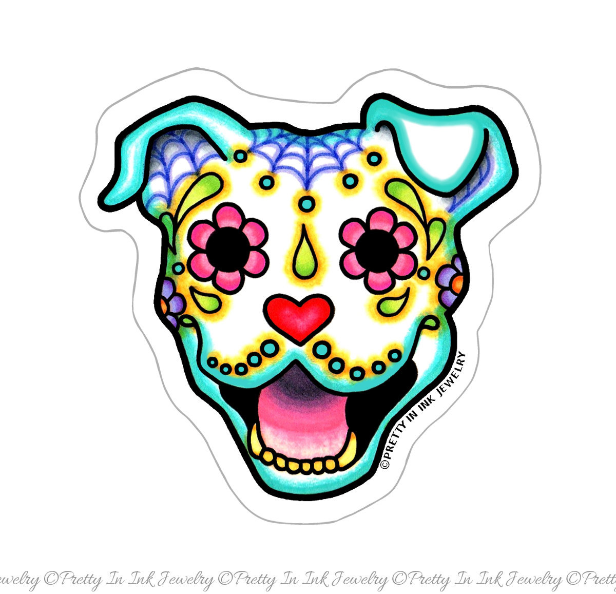 1200x1157 Smiling Pit Bull Sticker Day Of Dead Happy Sugar Skull Dog