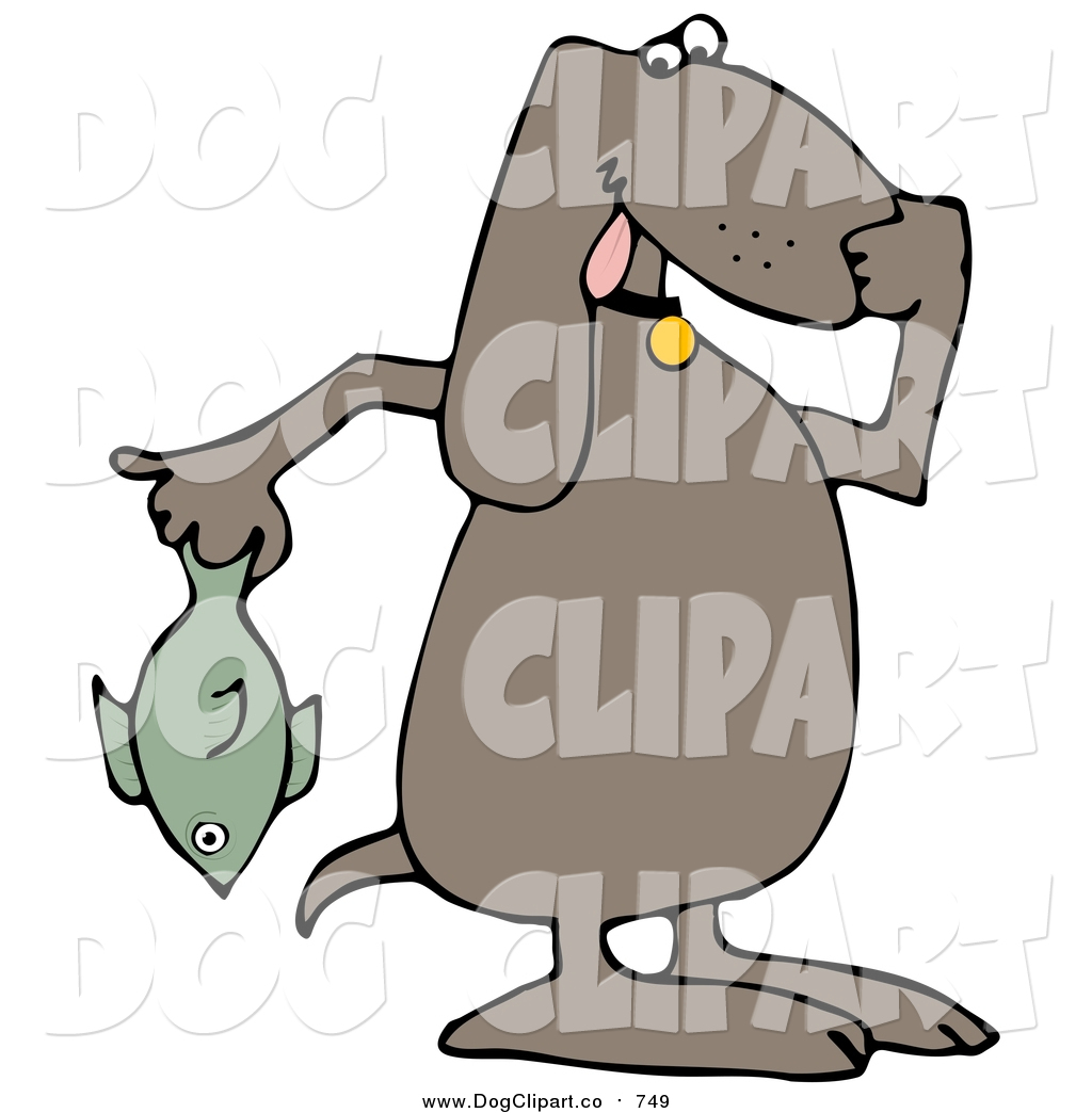 1024x1044 Vector Clip Art Of A Brown Dog Holding A Stinky Dead Fish