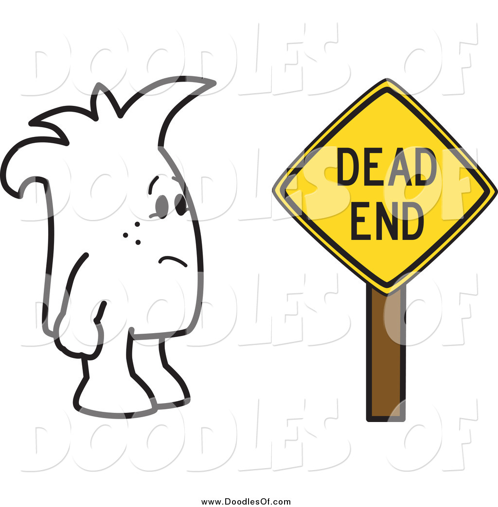 1024x1044 Vector Clipart Of A Doodle Guy By A Dead End Sign By Toons4biz