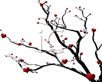350x281 Free Clip Art Image Red Hearts On A Dead Tree Branch