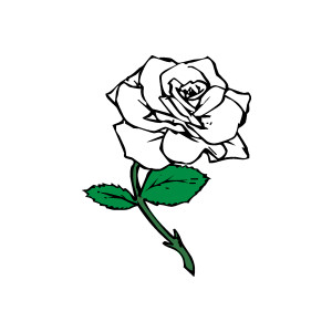 300x300 Pink Rose Clipart Black White