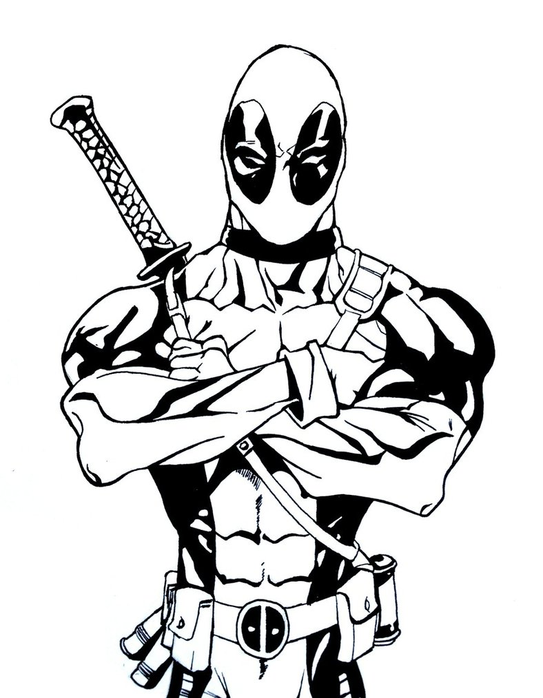 788x1014 Old Deadpool Free Coloring Page Adults, Deadpool, Kids, Movies